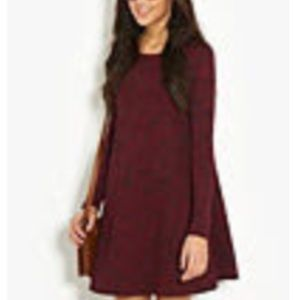 Dresses & Skirts - Burgundy Textured Swing Dress Fall Fashion